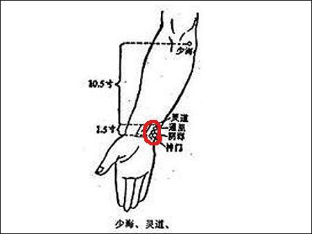 神门穴位于手腕部位,手腕关节手掌侧